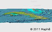 Satellite Panoramic Map of Cuba, political shades outside, satellite sea