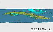 Satellite Panoramic Map of Cuba, semi-desaturated, land only
