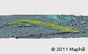 Satellite Panoramic Map of Cuba, semi-desaturated