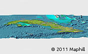 Satellite Panoramic Map of Cuba, shaded relief outside, satellite sea