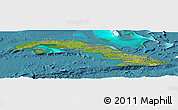 Satellite Panoramic Map of Cuba, single color outside