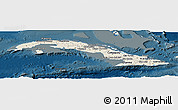 Shaded Relief Panoramic Map of Cuba, darken