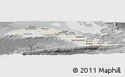 Shaded Relief Panoramic Map of Cuba, desaturated
