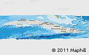 Shaded Relief Panoramic Map of Cuba, political shades outside, shaded relief sea