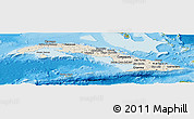 Shaded Relief Panoramic Map of Cuba, satellite outside, shaded relief sea