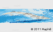 Shaded Relief Panoramic Map of Cuba, semi-desaturated, land only