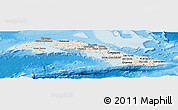 Shaded Relief Panoramic Map of Cuba, single color outside