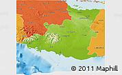 Physical 3D Map of Sancti Spiritus, political outside