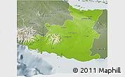 Physical 3D Map of Sancti Spiritus, semi-desaturated