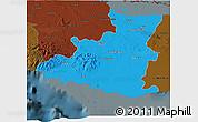 Political 3D Map of Sancti Spiritus, darken