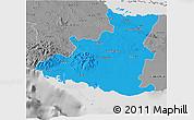 Political 3D Map of Sancti Spiritus, desaturated