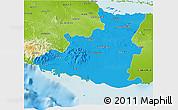 Political 3D Map of Sancti Spiritus, physical outside