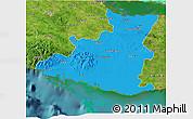 Political 3D Map of Sancti Spiritus, satellite outside