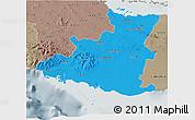 Political 3D Map of Sancti Spiritus, semi-desaturated