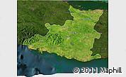 Satellite 3D Map of Sancti Spiritus, darken