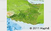 Satellite 3D Map of Sancti Spiritus, physical outside