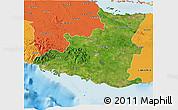 Satellite 3D Map of Sancti Spiritus, political outside