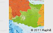 Physical Map of Sancti Spiritus, political outside