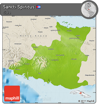 Free Physical Map Of Sancti Spiritus Shaded Relief Outside - Sancti spíritus map