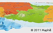Physical Panoramic Map of Sancti Spiritus, political outside