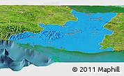 Political Panoramic Map of Sancti Spiritus, satellite outside