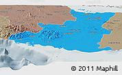 Political Panoramic Map of Sancti Spiritus, semi-desaturated