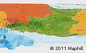 Satellite Panoramic Map of Sancti Spiritus, political outside