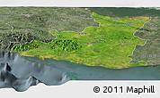 Satellite Panoramic Map of Sancti Spiritus, semi-desaturated