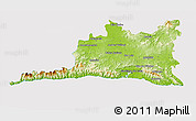 Physical 3D Map of Santiago de Cuba, cropped outside