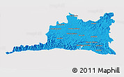 Political 3D Map of Santiago de Cuba, cropped outside