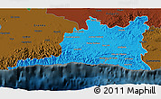 Political 3D Map of Santiago de Cuba, darken