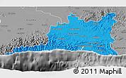 Political 3D Map of Santiago de Cuba, desaturated