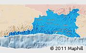 Political 3D Map of Santiago de Cuba, lighten