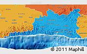 Political 3D Map of Santiago de Cuba
