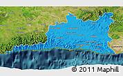 Political 3D Map of Santiago de Cuba, satellite outside