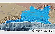 Political 3D Map of Santiago de Cuba, semi-desaturated