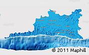 Political 3D Map of Santiago de Cuba, single color outside