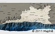 Shaded Relief 3D Map of Santiago de Cuba, darken