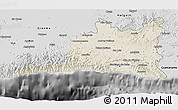 Shaded Relief 3D Map of Santiago de Cuba, desaturated