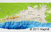 Shaded Relief 3D Map of Santiago de Cuba, physical outside