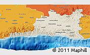 Shaded Relief 3D Map of Santiago de Cuba, political outside