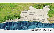 Shaded Relief 3D Map of Santiago de Cuba, satellite outside