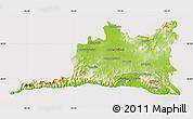 Physical Map of Santiago de Cuba, cropped outside