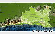 Physical Map of Santiago de Cuba, darken