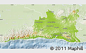 Physical Map of Santiago de Cuba, lighten
