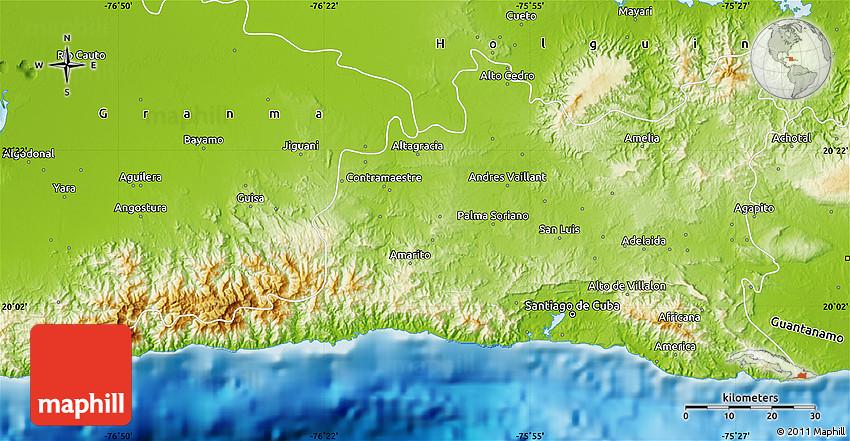 Physical Map of Santiago De Cuba