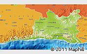 Physical Map of Santiago de Cuba, political outside