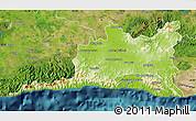 Physical Map of Santiago de Cuba, satellite outside