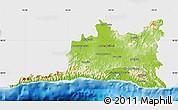 Physical Map of Santiago de Cuba, single color outside