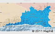 Political Map of Santiago de Cuba, lighten